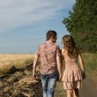 Stock Photo: Couple walking on nature