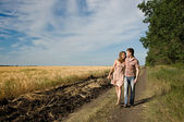 Couple walking on nature — Stock Photo