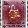 UAE - 1981: shows man in wheelchair, international year of disabed persons 1981 — Stock Photo