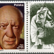 POLAND - 1981: shows Pablo Picasso (1881-1973), artist, birth centenary, with label showing A Crying Woman — Stock Photo #10757414
