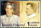 FINLAND - 2004: shows Jean Sibelius (1865-1957) composer, and wife, Aino Sibelius (1871-1969) — Stock Photo