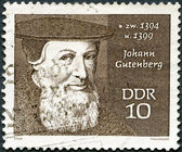 GERMANY - 1970: shows Johann Gutenberg (1400-1468) — 图库照片