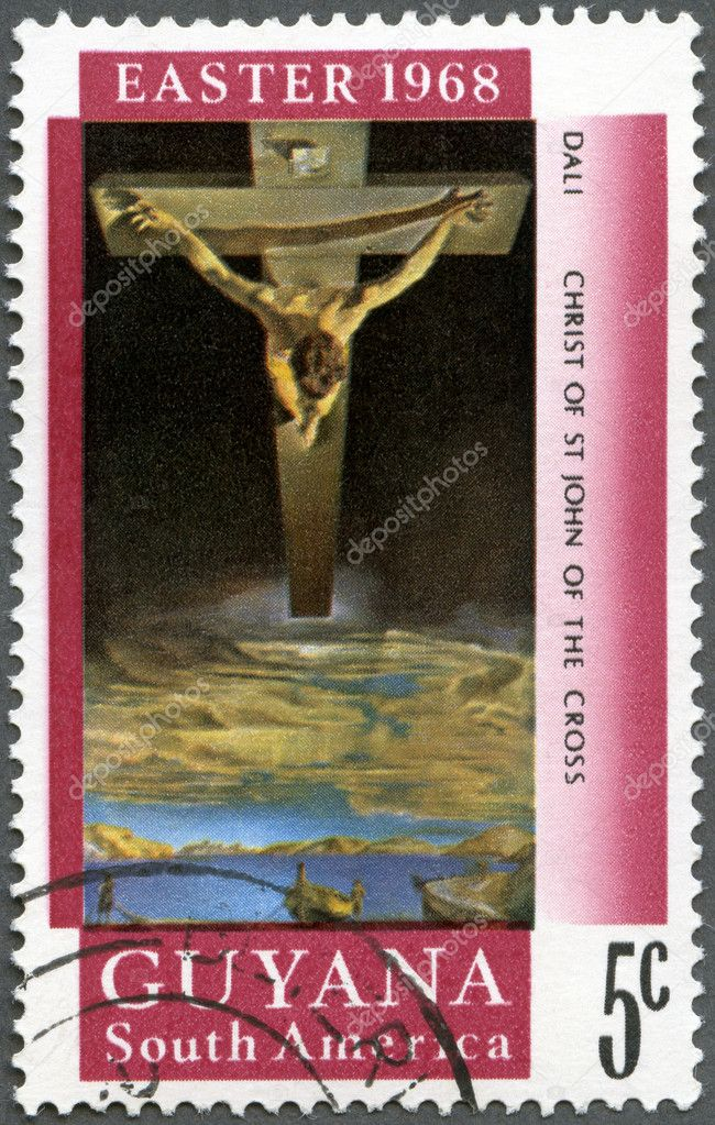 GUYANA - CIRCA 1968: A stamp printed in Guyana shows Christ of St. John of the Cross by Salvador Dali, circa 1968  Stock Photo #10797367