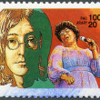 MALAGASY REPUBLIC - 1994: hows John Lennon, Ella Fitzgerald (1917-1996) — Stock Photo
