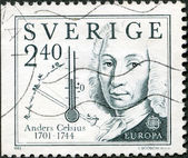 SWEDEN - 1982: shows Anders Celsius (1701-1744), inventor of temperature — Stock Photo