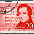 GERMAN DEMOCRATIC REPUBLIC - 1956: shows Robert Schumann (1810-1856), (Music by Schubert), composer, centenary of the death — Stock Photo