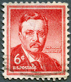 "USA - 1955: shows Theodore ""Teddy"" Roosevelt (1858-1919) was the 26th President of the United States of America — 图库照片"