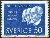 Suède - 1962 : montre hermann emil fischer, pieter zeeman et hendrik antoon lorentz, lauréats du prix Nobel 1902 — Photo