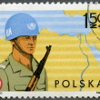 Stok fotoğraf: POLAND - 1976: shows Soldier and Map of Sinai, Polish specialist troops serving with UN Forces in Sinai Peninsula