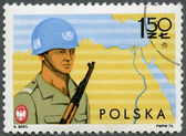 POLAND - 1976: shows Soldier and Map of Sinai, Polish specialist troops serving with UN Forces in Sinai Peninsula — Stock Photo
