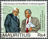 MAURITIUS - 1990: shows The Prime Minister Jugnauth with Sir Seewoosagur Ramgoolam late governor general, 60th Birthday of the Prime Minister, Sir Anerood Jugnauth — Stock Photo