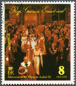 EQUATORIAL GUINEA - 1978: shows Elizabeth II, Coronation, 25th Anniversary — Stock Photo