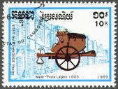 CAMBODIA - 1989: dedicated PHILEXFRANCE-89, shows mail coach 1805 — Stockfoto