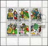 """GERMANY - 1977: shows Various scenes from fairytale: """"Six Men Around the World"""" — ストック写真"""