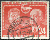 GERMANY - 1951: shows Stalin and Wilhelm Pieck, Month of East German-Soviet friendship — Stock Photo