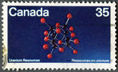 CANADA - 1980: shows Uraninite Molecular Structure, Discovery of uranium in Canada, 80th anniversary — Zdjęcie stockowe