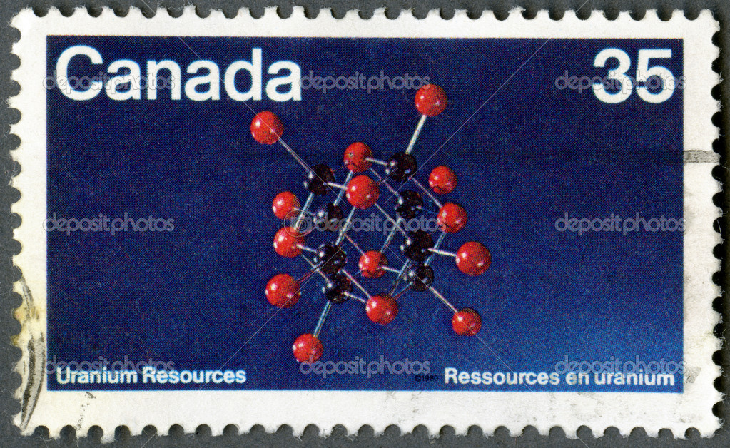 CANADA - CIRCA 1980: A stamp printed in Canada shows Uraninite Molecular Structure, Discovery of uranium in Canada, 80th anniversary, circa 1980  Stock Photo #11593326