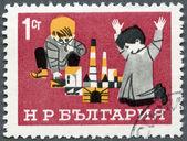 BULGARIA - 1966: shows Children with Building Blocks, Children's Day — Stock Photo