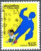 Tayland - 1977: alt gölge adam, döküm ulusal gösteren çocuk bayramı — Stok fotoğraf