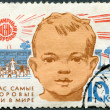 USSR - 1963: shows Child's head and kindergarden, 15th anniversary of World Health Day — Stock Photo