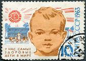 Sssr - 1963: ukazuje hlavu a školka, 15th výročí světový den zdraví dítěte — Stock fotografie