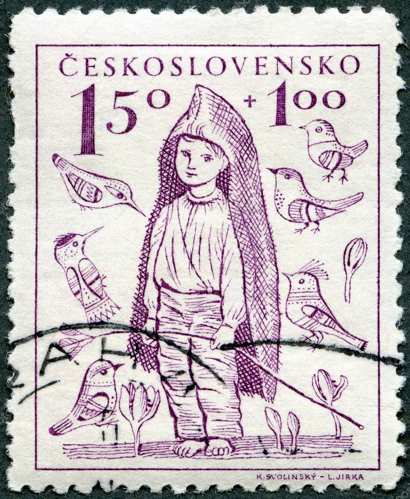 CZECHOSLOVAKIA - CIRCA 1948: A stamp printed in Czechoslovakia shows Barefoot Boy, the surtax was for child welfare, circa 1948 — Stock Photo #11758024