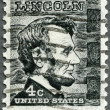 Stock Photo: US- 1965: shows President Abraham Lincoln (1809-1865), series Prominent Americans Issue