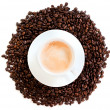 Cup of coffee cappuccino isolated over white background — Stock Photo