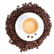 Cup of coffee cappuccino isolated over white background — ストック写真