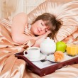 Morning breakfast in the bed — Stock Photo #11349787