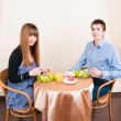 Young caucasian couple dining in restaurant — Stock Photo #11349842