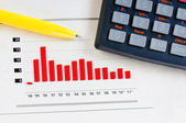 Business concept: calculator, pen and diagram — Stock Photo