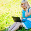 Foto Stock: Beautiful young woman sits on a grass in a park with the laptop.