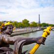 View on Seine River and Eiffel Tower from Alexander III bridge i - Stock Photo