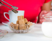 Brown sugar on a table at restaurant — Stock Photo