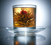 Cup with blooming flower green tea — Stock Photo