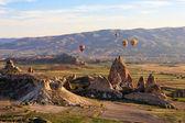 Balloon flying over Cappadocia, Turkey — Stock Photo