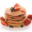 Pancakes with strawberry and blueberries — Stock Photo #10746539