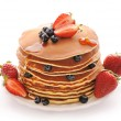 Pancakes with strawberry and blueberries — Stock Photo