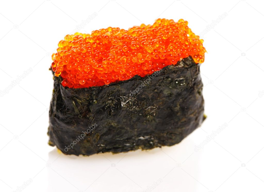 Tobiko sushi isolated on white background — Stock Photo #11112974