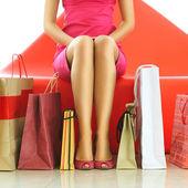 Vrouw winkelen — Stockfoto