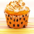 Stock Photo: Cupcake with whipped cream