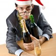 Drunken businessman after office christmas party — Stock Photo #11075726