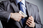 Businessman man with hand gun — Foto de Stock