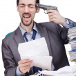 Man committing suicide in office — Stock Photo