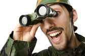 Funny soldier with binoculars — Stock Photo