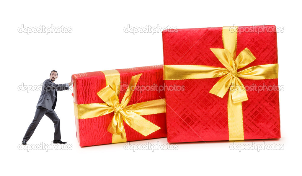 Businessman with gift boxes on white — Stock Photo #11176405