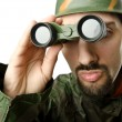 Foto de Stock  : Funny soldier with binoculars