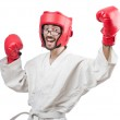 Karate fighter isolated on the white — Stock Photo #11317047