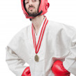 Karate fighter isolated on the white — Stock Photo #11317049